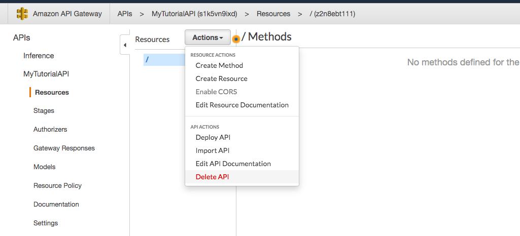 API Gateway - Create API suite screen